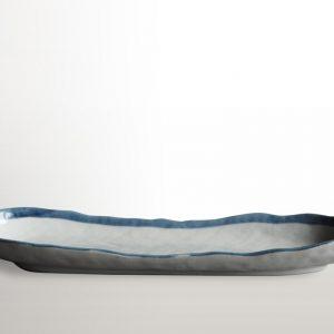 Oválny tanier na sushi s modrým okrajom 33 x 10 cm - sushi - suši - susi - japonská keramika - sushi keramika - tanier na sushi - japonska kuchyna - azijska kuchyna - ázijská kuchyňa - japonská kuchyňa