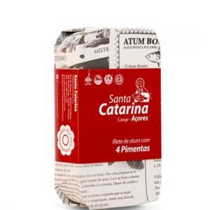 Filety tuniaka v olivovom oleji 4druhy korenia SANTA CATARINA 120g - rybacia pomazanka - tuniaková pomazánka - tuniakova pomazanka -  tuniak v konzerve - tuniak v oleji - tuniak v olivovom oleji - franz josef tuniak - calvo tuniak - rio mare tuniak v olivovom oleji - tuniak vo vlastnej stave - calvo tuniak vo vlastnej stave