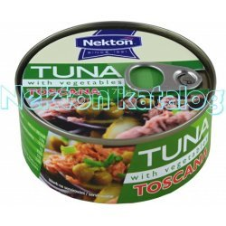 Nekton Tuniak kúsky so zeleninou TOSCANA 170 g - rybacia pomazanka - tuniaková pomazánka - tuniakova pomazanka -  tuniak v konzerve - tuniak v oleji - tuniak v olivovom oleji - franz josef tuniak - calvo tuniak - rio mare tuniak v olivovom oleji - tuniak vo vlastnej stave - calvo tuniak vo vlastnej stave