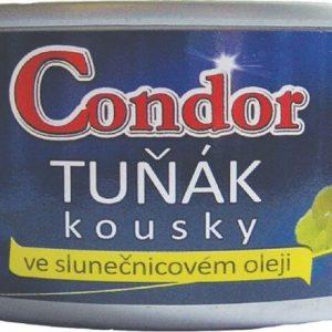 Condor Tuniak kúsky v slnečnicovom oleji (plechovka) 170 g - rybacia pomazanka - tuniaková pomazánka - tuniakova pomazanka -  tuniak v konzerve - tuniak v oleji - tuniak v olivovom oleji - franz josef tuniak - calvo tuniak - rio mare tuniak v olivovom oleji - tuniak vo vlastnej stave - calvo tuniak vo vlastnej stave
