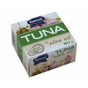 NEKTON Tuniak v olivovom oleji 80 g - rybacia pomazanka - tuniaková pomazánka - tuniakova pomazanka -  tuniak v konzerve - tuniak v oleji - tuniak v olivovom oleji - franz josef tuniak - calvo tuniak - rio mare tuniak v olivovom oleji - tuniak vo vlastnej stave - calvo tuniak vo vlastnej stave